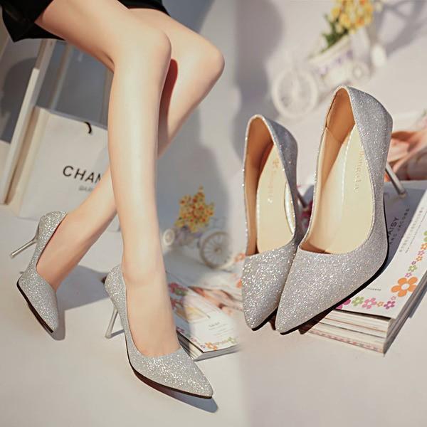尖頭高跟鞋細跟淺口真皮單鞋淑女性感亮片新娘婚鞋