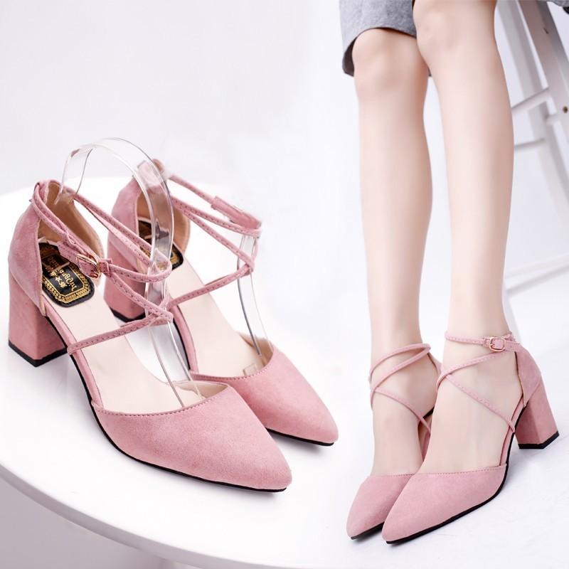 Girl 潮流‖ 春夏 涼鞋環綁帶高跟鞋粗跟粉色甜美性感中空尖頭單鞋女潮