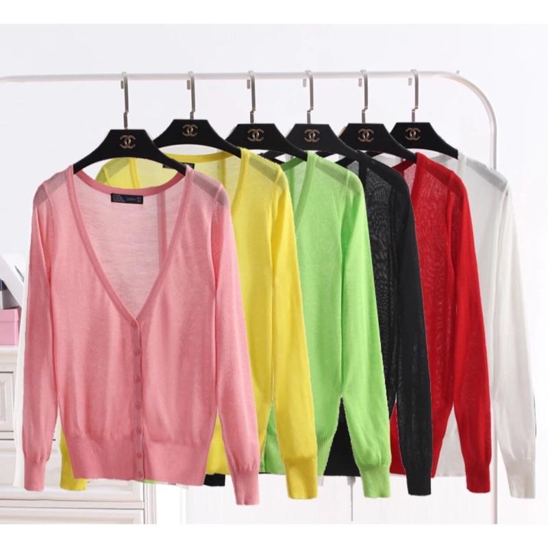 [隨心所欲]21 色大碼針織衫長袖披肩空調衫超薄款外搭防曬小外套大 針織罩衫