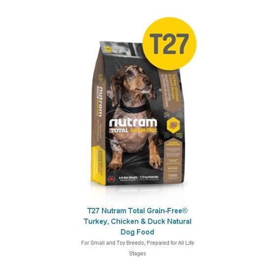 NUTRAM 紐頓T27 無穀迷你犬火雞,雞肉鴨肉2 72 公斤
