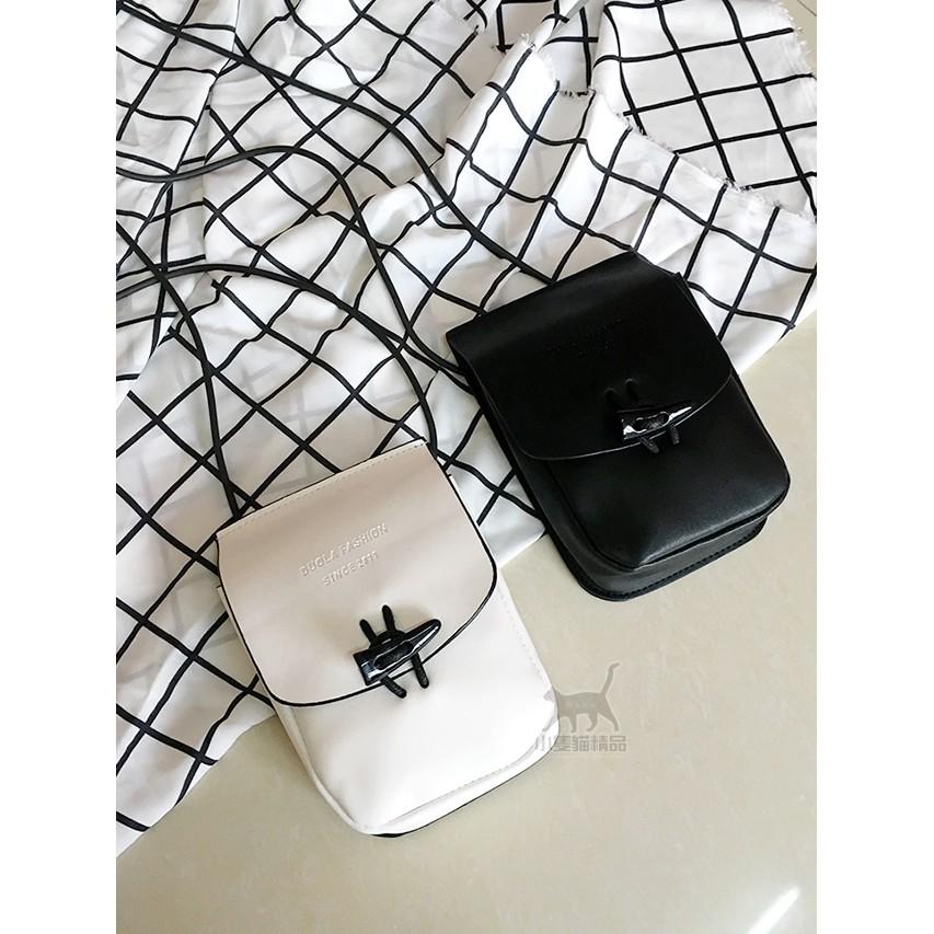 韓國簡約百搭日系復古純色手機包PU 單肩斜挎包文藝女包迷你小包包