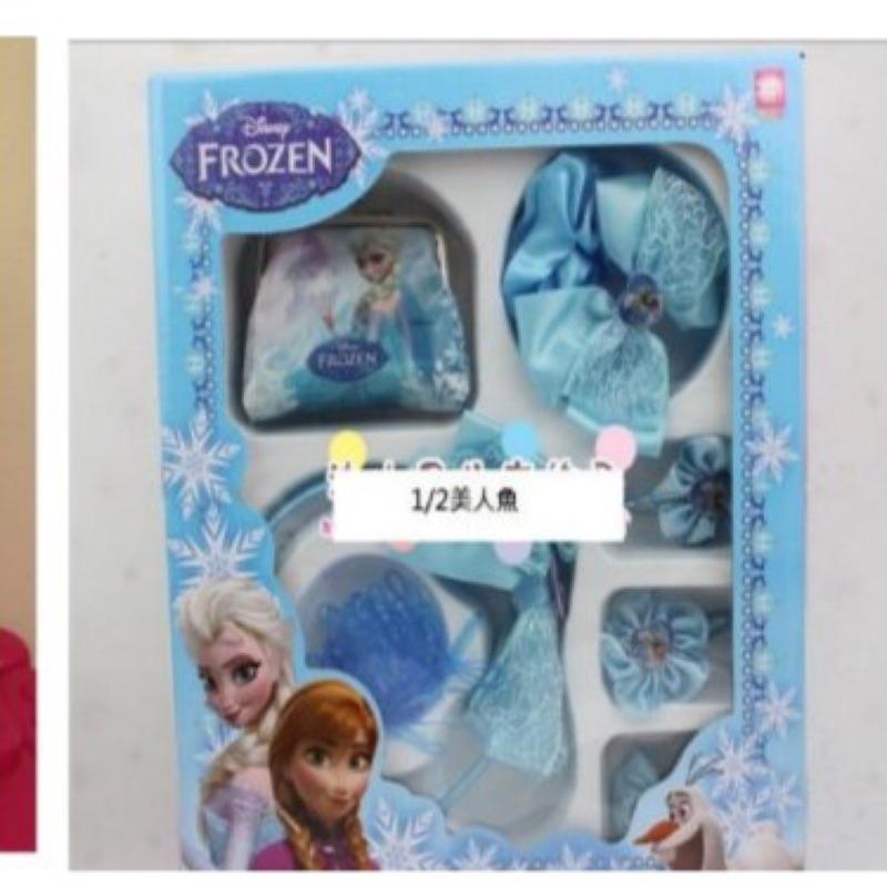迪士尼公主 冰雪奇緣艾沙安娜蘇菲亞髮箍對夾大腸圈大髮夾橡皮筋兒童髮飾生日 零錢包 組430