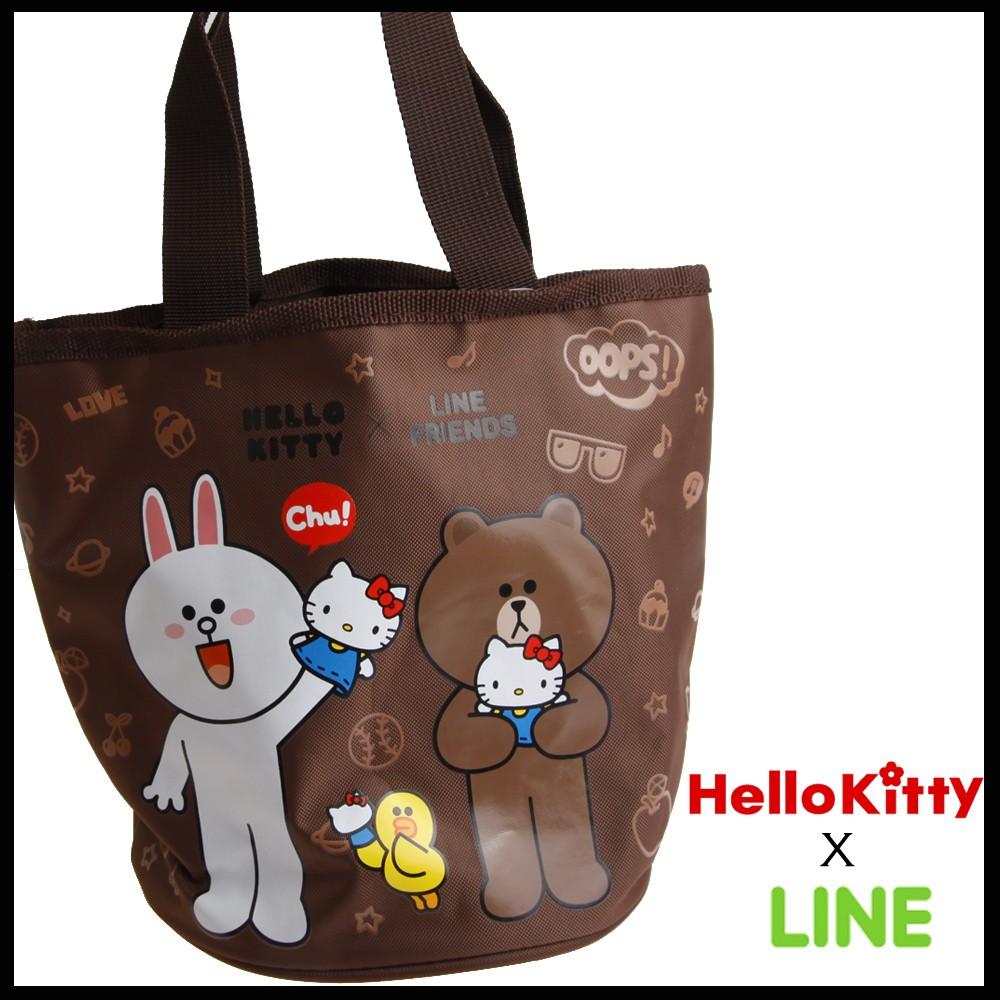 LINE x HelloKitty 凱蒂貓熊大兔兔聯名款圓形束口便當袋水桶小提包圓筒提袋便