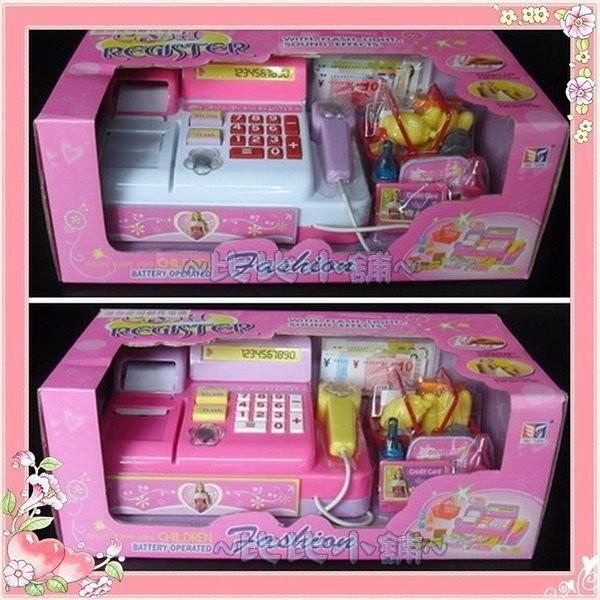 ~比比小舖~聲光音響兒童超市粉紅芭比公主收銀機學習機扮家家酒玩具
