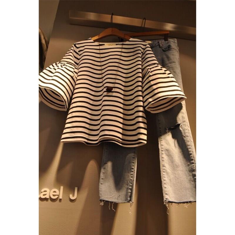 明星同款條紋正韓t 恤 正韓短袖上衣條紋上衣大碼洋裝魚尾洋裝洋裝