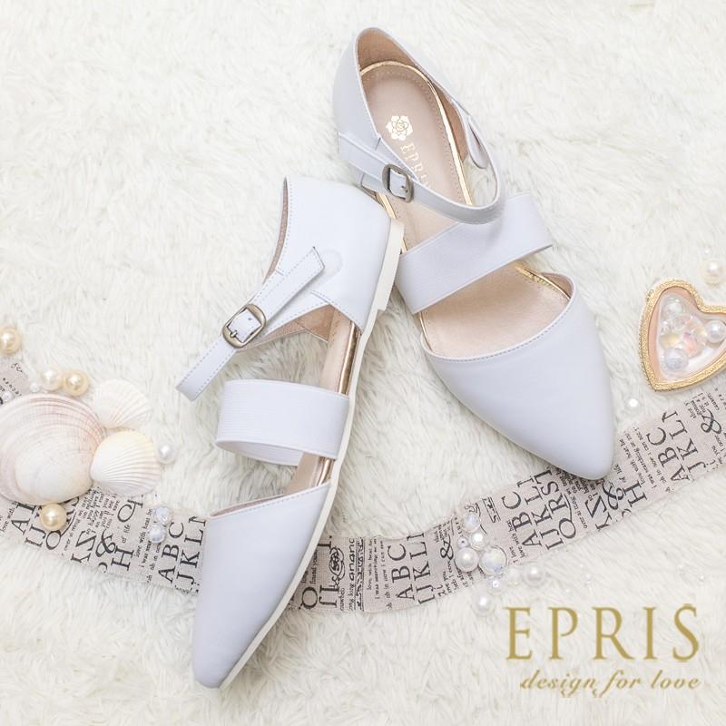 白23 25 MIT 小中大 涼鞋 簡約女神全真皮柔軟平底羅馬鞋 白P032