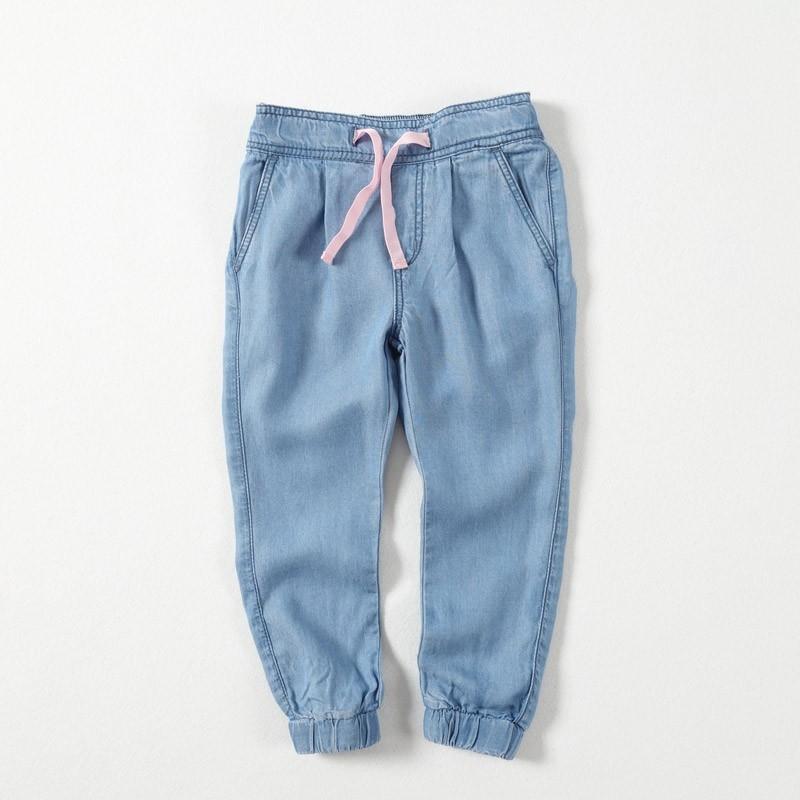 天絲棉薄款春夏女童束口褲牛仔褲110CM 防蚊防曬