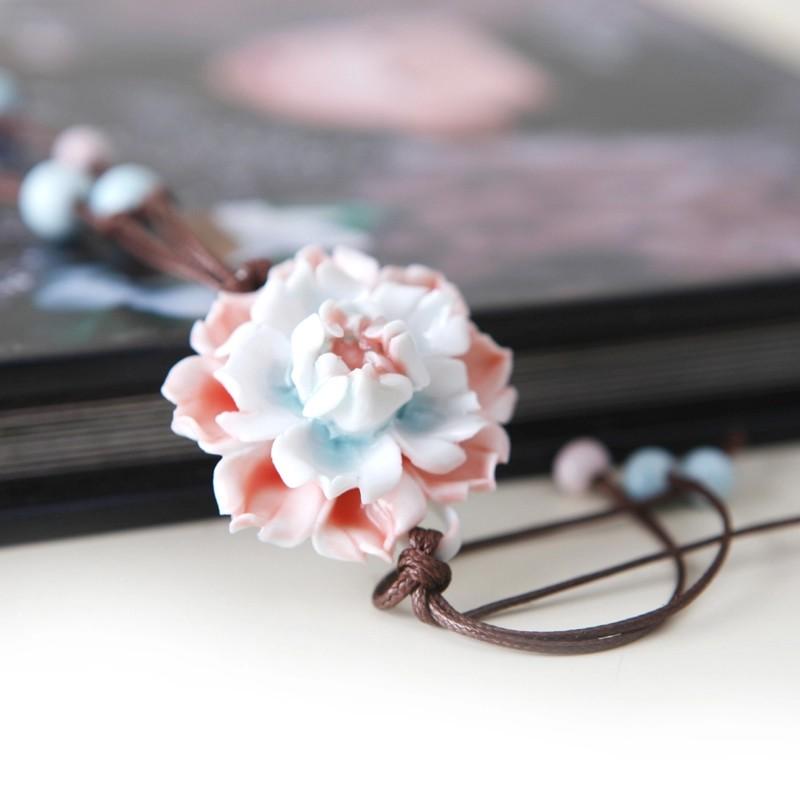 賣場滿199 發貨n n n 青歌景德鎮原創 花朵項鏈毛衣鏈民族風陶瓷飾品手捏花朵