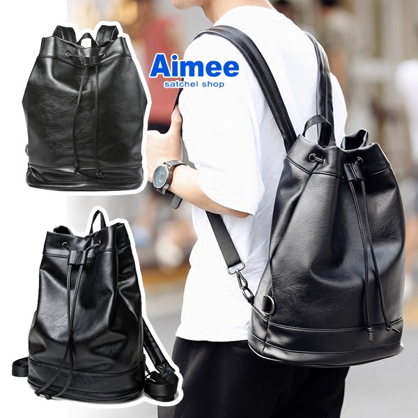 ~Aimee ~帥氣39 公分軟皮料‧韓風美式布魯克林街頭嘻哈大水桶包後背包‧皮革後背包托