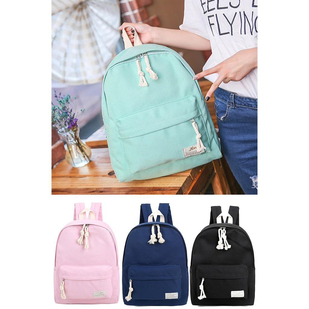 全網最 純色多用途帆布書包學校戶外旅行背包旅行包休閒包包包雙肩包