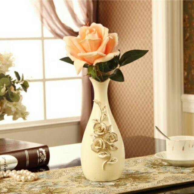 粉紅玫瑰 屋歐式餐桌復古米白色花瓶