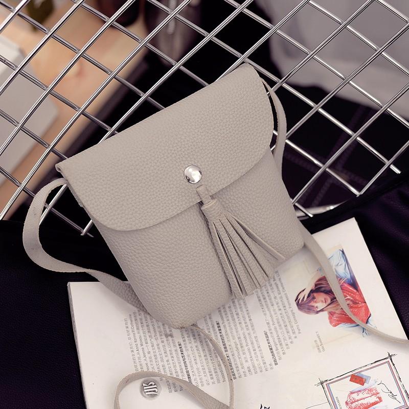 P006  流蘇手機包側背包荔枝紋小方包小物包