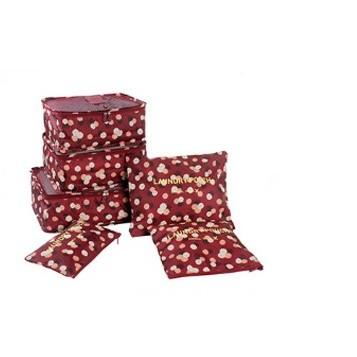 ~杰元 館~酒紅花朵DINIWELL 加大加厚防水行李箱旅行衣物內衣整理分類收納袋六件套