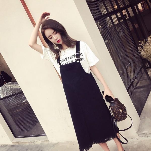 韓國高腰牛仔吊帶裙學生寬鬆連衣裙長裙