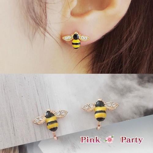 ~夾式耳環~精緻可愛水鑽小蜜蜂夾式耳環耳夾韓國飾品EH043 PinkParty ❤韓系飾