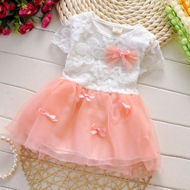 女童網紗洋裝連身裙小公主甜美風蝴蝶結連衣裙