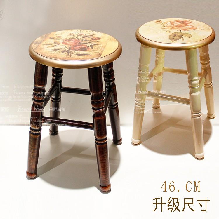 實木凳子 圓餐凳白色田園換鞋凳木電腦凳休閒凳歐式白色