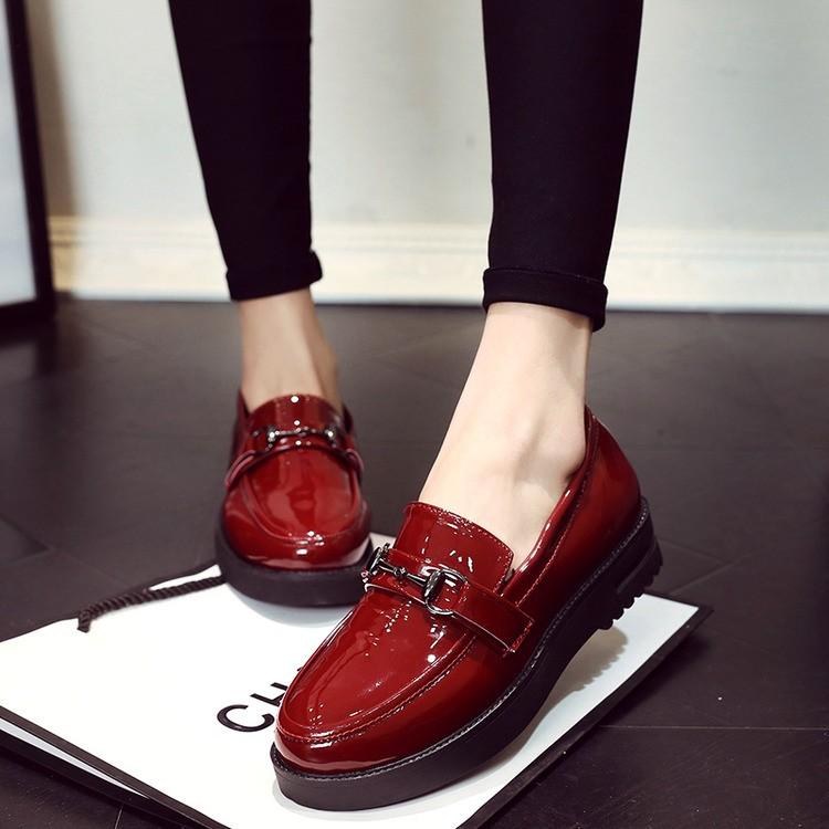 後街五號 鞋館春 歐洲站英倫小皮鞋女 休閒圓頭粗跟厚底單鞋漆皮女鞋