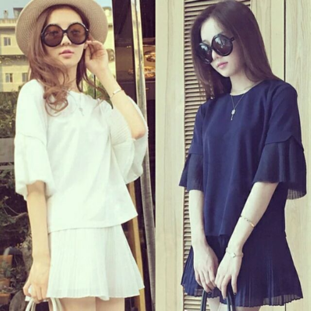 款 高貴氣質純色顯瘦寬鬆褲裙雪紡套裝«M 5XL ,有加大 »
