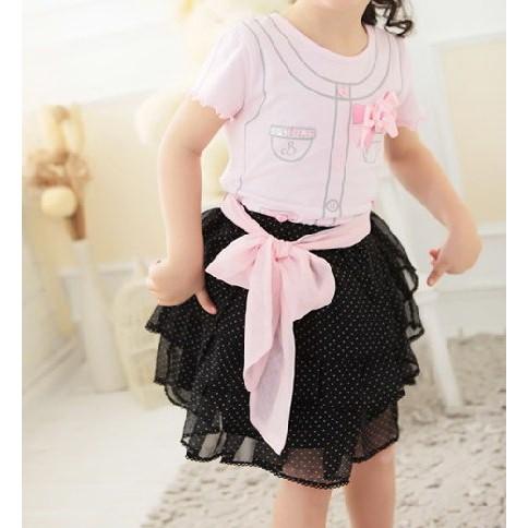 日單粉紅公主蝴蝶結綁帶蛋糕裙套裝80 120cm 純棉四件組上衣胸花腰綁帶短裙