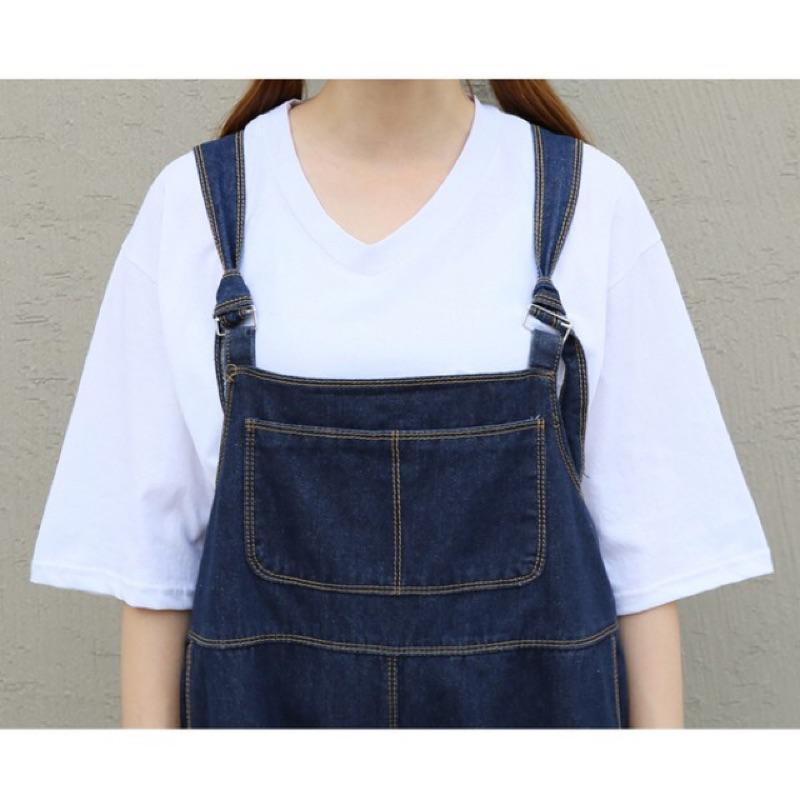 韓國學院風寬鬆牛仔五分吊帶褲大口袋吊帶連身褲女寬褲