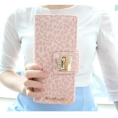 法式甜美可愛風格蝴蝶結水鑽長夾豹紋 短夾女皮夾錢包皮包零錢包手機包生日 聖誕節