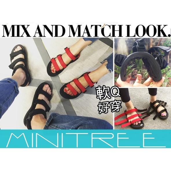 MiniTree ~新品 ~  港風氣質魔鬼氈情侶款男女休閒羅馬沙灘涼鞋拖鞋2 色34 4