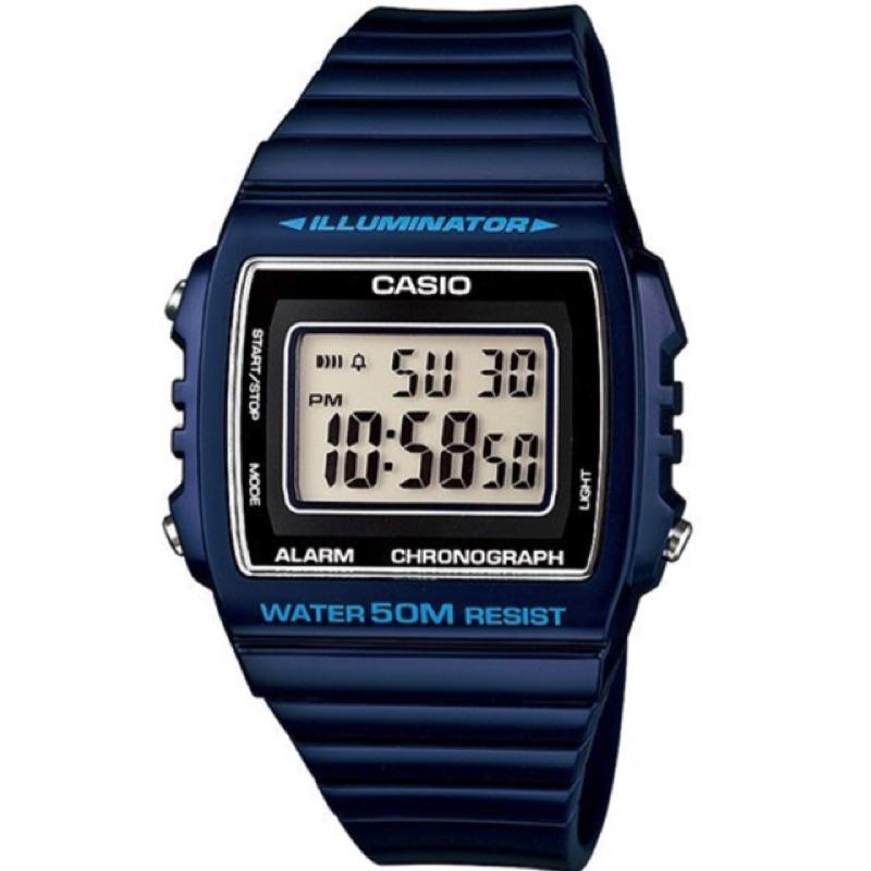 CASIO 卡西歐方形數字錶大型的液晶錶面防水50 米LED 背光照明W 215H 2A