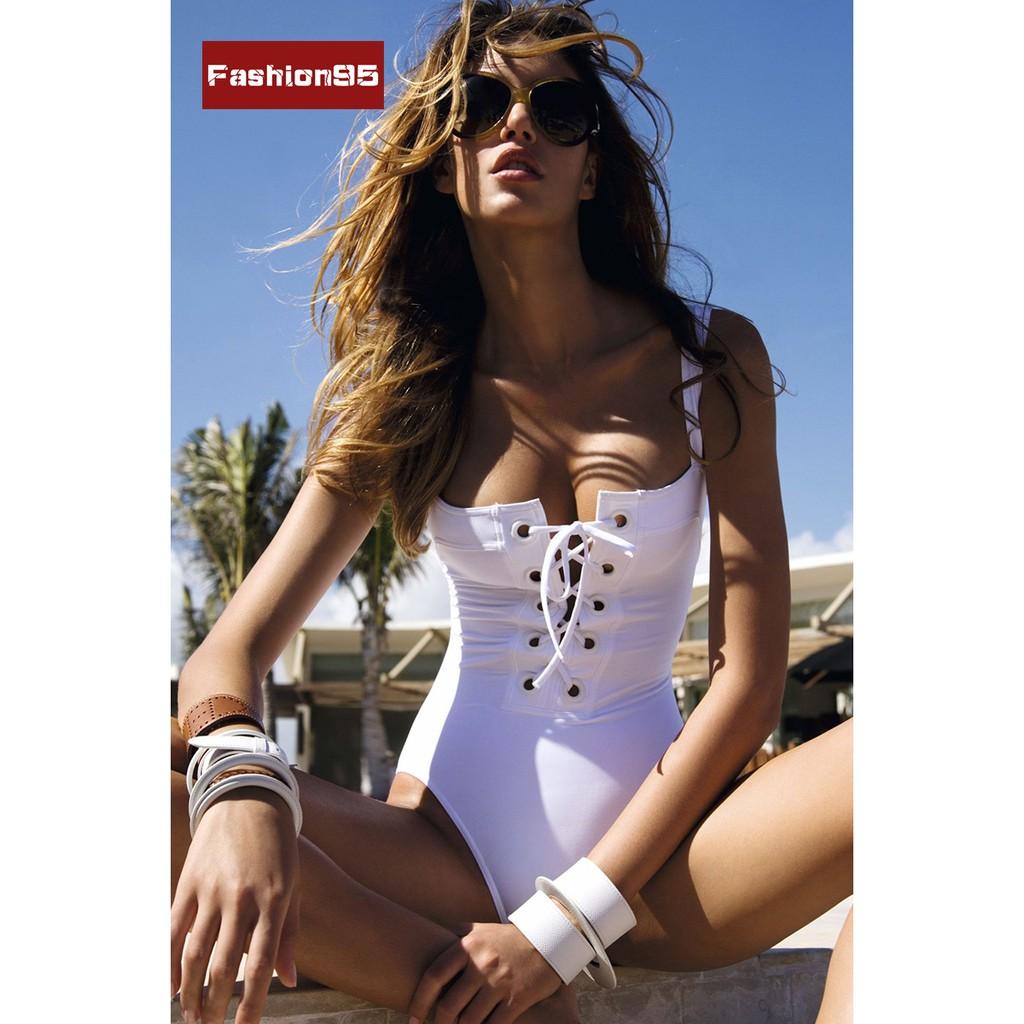 爆款性感繃帶連體泳衣綁帶白色連體衣
