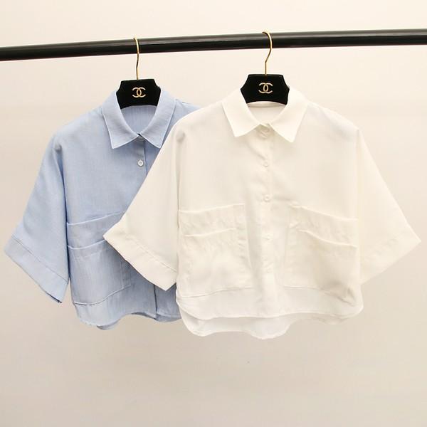 夏末現‧折‧有限寬鬆短版大口袋襯衫