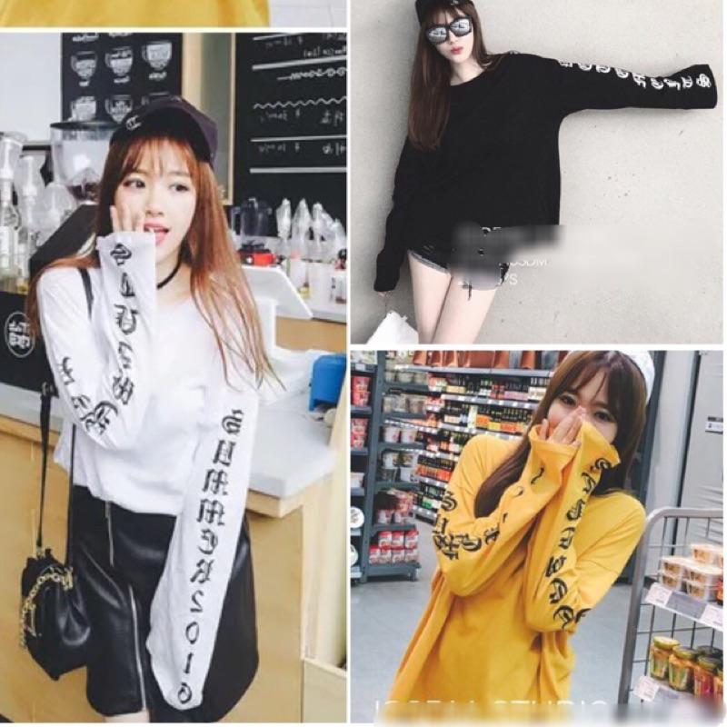 韓國 英文字母袖寬鬆圓領中長袖T 恤女上衣