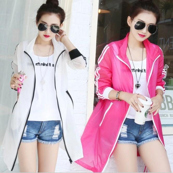 韩版大码超薄透明女士防紫外線防曬衣糖果色帶拉鏈三條紋空調衫GXYF57