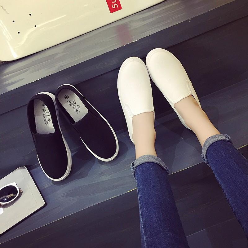 2016  一腳蹬懶人鞋女布鞋厚底帆布鞋學生 小白鞋潮