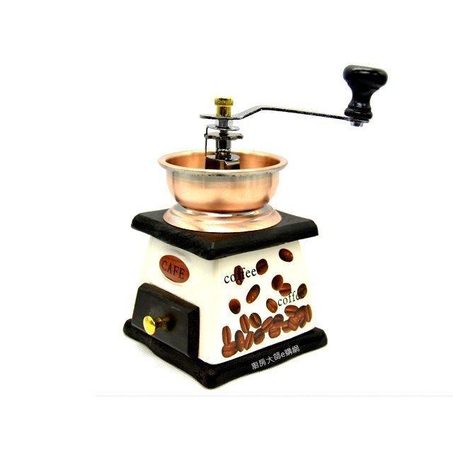 大號陶瓷機身仿銅碗手搖咖啡磨豆機磨豆機碎豆機多斷粗細可調整咖啡器材