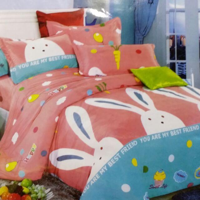 ~柑丫店~快樂兔單人、雙人、雙人加大床包組蘆薈棉床包枕頭套卡通床包薄款另售涼被5 ×6 尺