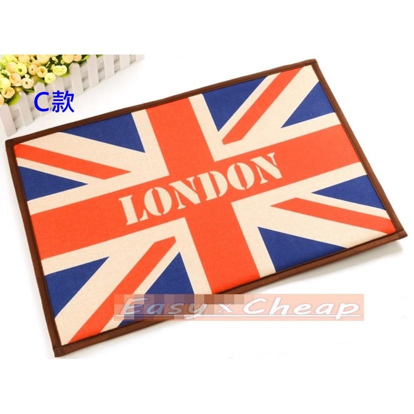 買5 送1 英倫風棉麻腳踏墊防滑吸水歐式鄉村風格工業風祕密花園英國美國國旗 超舒適地墊地毯