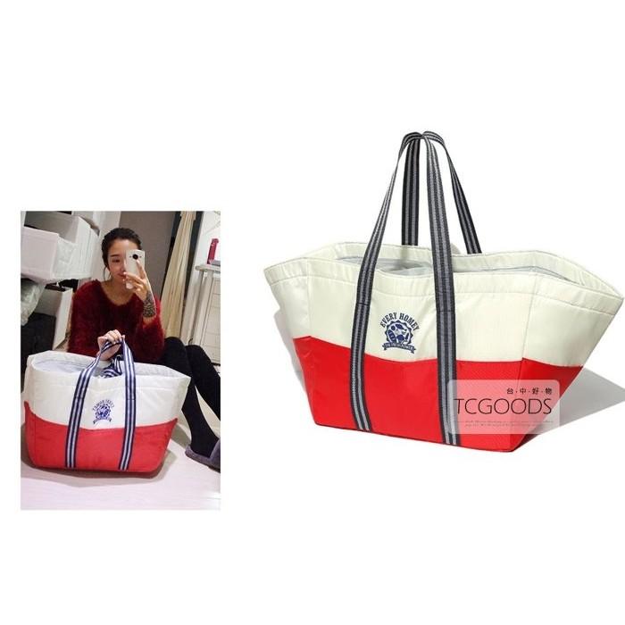 ~台中好物~ 超市EVERY HOMEY 紅白 保溫太空棉束口媽媽包手提 包超輕巧大容量尼