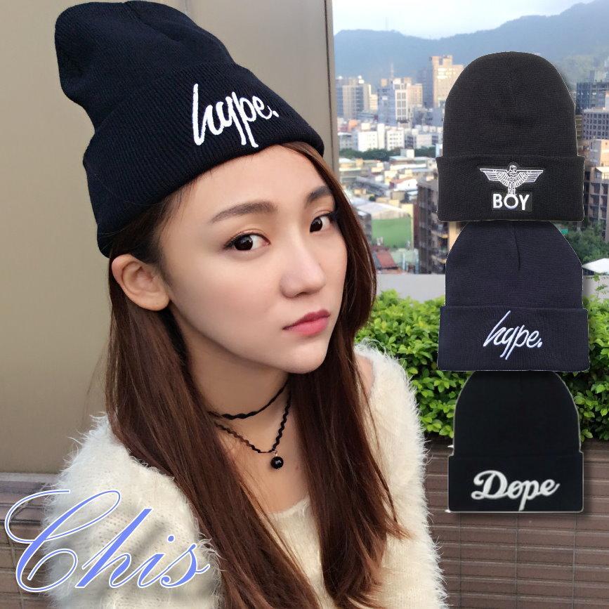 Chis Store ~hype 繡字毛線帽~韓國男女情侶英文字母Dope 老鷹圖案BOY