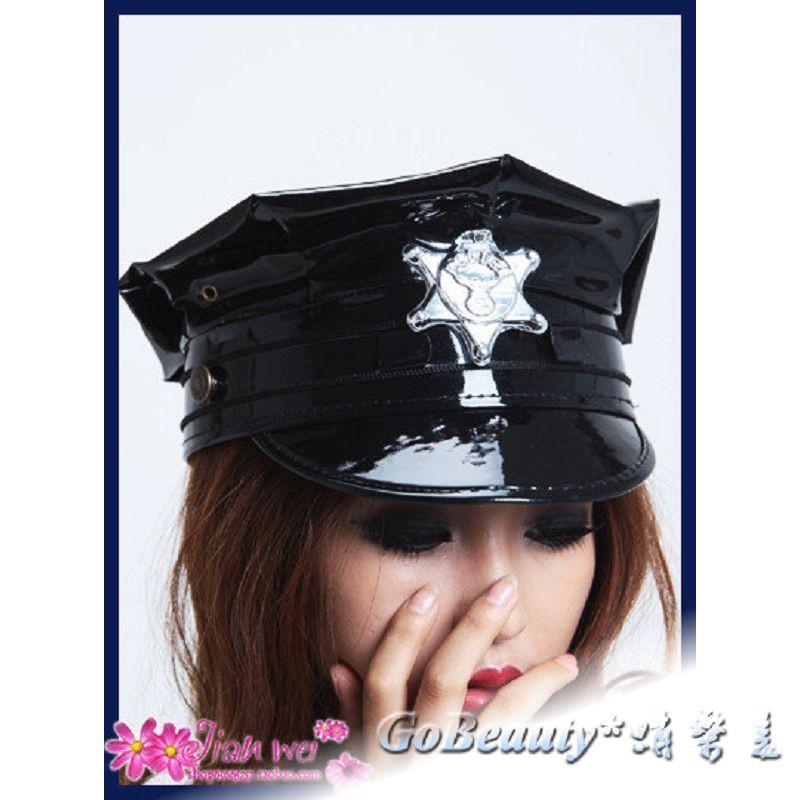 歐式黑色皮帽子女警帽子空姐帽子制服 GO0449 1