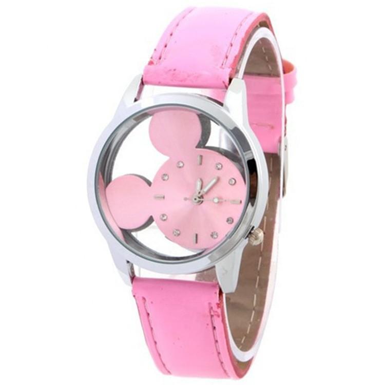 簡約米奇鏤空手錶 卡通米老鼠女士手錶學生手錶