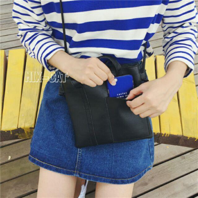 超美 簡約手提側背包❤夏日新品攜帶方便手提手拿肩背斜背側背包袋