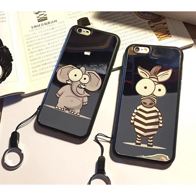 卡通斑馬大象iphone6s 手機殼蘋果i6plus 軟硅膠套5 5 掛繩情侶鏡面殼