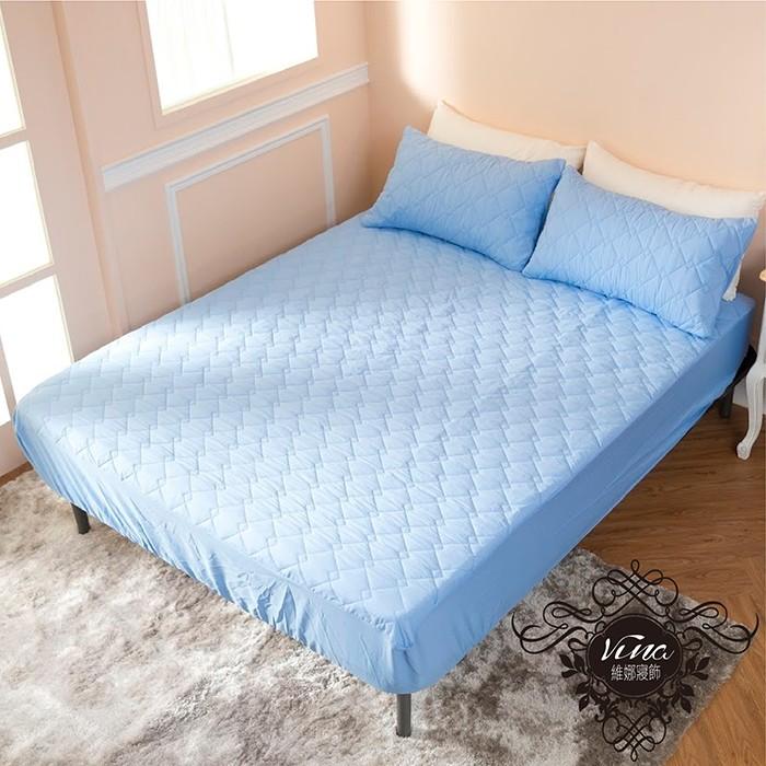MIT 製作防污防潑水床包式保潔墊枕套保潔墊單人雙人加大淺藍