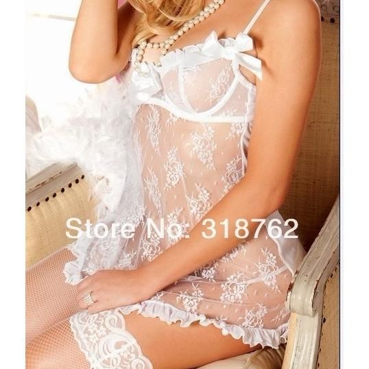 內衣抹胸蕾絲連衣裙G 弦設置2 件睡衣和服