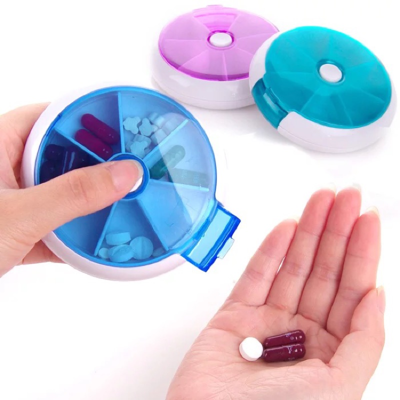 迷你可愛隨身小藥盒圓形7 分格按鈕旋轉藥盒子便攜式一週分裝藥盒