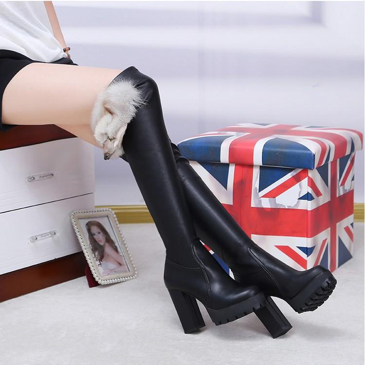 2016 嗆口小辣椒同款高跟彈力靴 保暖過膝長靴女中跟高筒靴