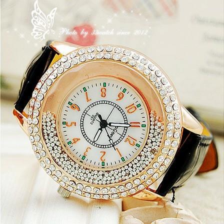 潮流鑲鑽滾珠裝飾手錶休閒女士皮帶女款石英女錶時裝表