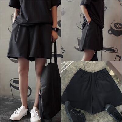 休閒西裝短褲寬口顯瘦腿括腿短褲黑色百搭西服褲