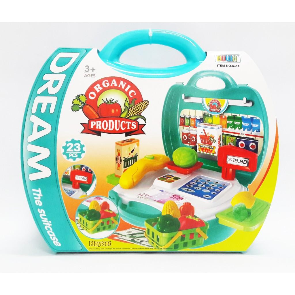 ❤白兔朵朵❤便攜~蔬果超市手提箱~仿真超市收銀台玩具扮辦家家酒認識水果蔬菜名稱益智玩具