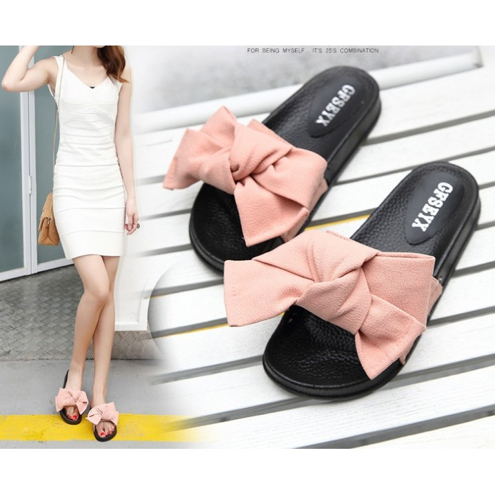 蝴蝶結平底涼拖鞋厚底拖鞋綢緞面一字拖女鞋防滑學生孕婦貨到